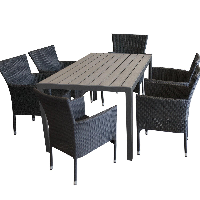 7tlg gartengarnitur gartentisch polywood 150x90cm grau 6x stapelbare polyrattan sessel. Black Bedroom Furniture Sets. Home Design Ideas