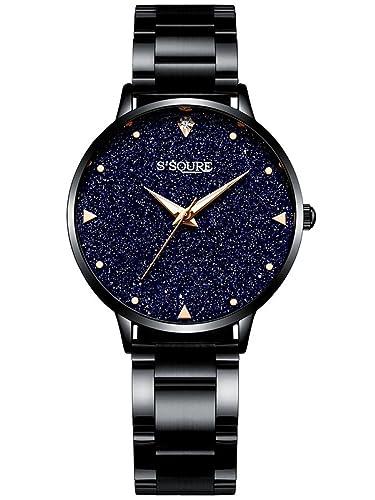 Alienwork Reloj Mujer Relojes Acero Inoxidable Negro Analógicos Cuarzo Impermeable Esfera del mármol Verdadero: Amazon.es: Relojes
