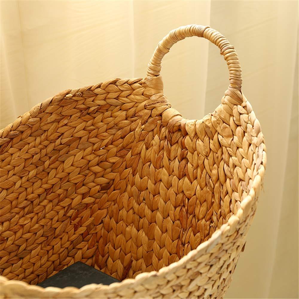 Cesta del almacenaje de la alga marina-cesta de mimbre del jacinto de agua grande/cesta tejida de la rota con la cesta de la manija-almacenaje para las ...