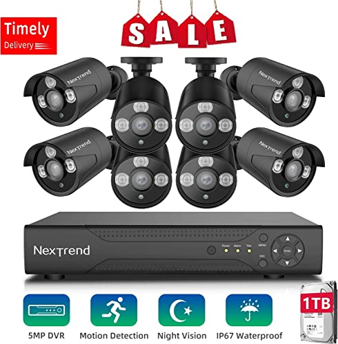 2020 NEW Security Camera System,NexTrend Wired Home Surveillance Cameras System 8CH 5MP DVR with 8 FHD Indoor Outdoor Weatherproof CCTV Cameras 1TB Hard Drive Motion Alert Night Vision Remote Monitor