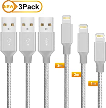 MarchPower Cable iPhone Cable Lightning-[Apple MFi Certificado]-Cable Cargador iPhone Compatible con iPhone SE 2020/11/X/XS/XS Max/XR/8/8 Plus/7/7 Plus/6s/6s Plus/6/6 Plus/5c/5s,iPad-3Pack 1m2m3m Gris: Amazon.es: Electrónica