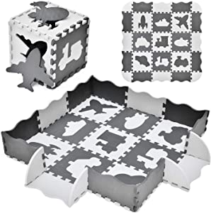 "FUN LITTLE TOYS 25PCs Baby Play Mat with Fence Including 9 Different Vehicle Styles, Thick (0.47"") Interlocking Foam Floor Tiles, Kids Room Decor Large Mat"