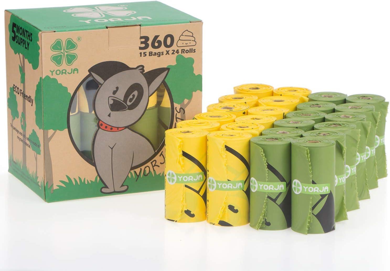 YORJA Bolsas para Excrementos de Perro,24 Rollos/360 Unidades,Extra Grueso,Fuerte y a Prueba de Fugas Biodegradable Bolsas para Caca de Perro