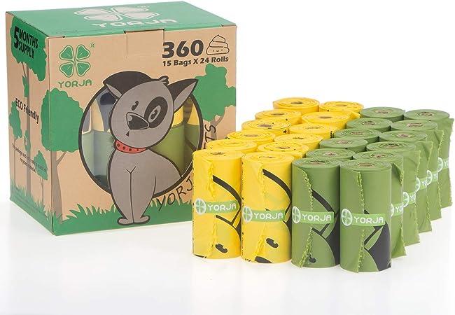 YORJA Bolsas para Excrementos de Perro,24 Rollos/360 Unidades ...