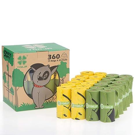 YORJA Bolsas para Excrementos de Perro,24 Rollos/360 Unidades,Extra Grueso,Fuerte ya Prueba de Fugas Biodegradable Bolsas para Caca de Perro