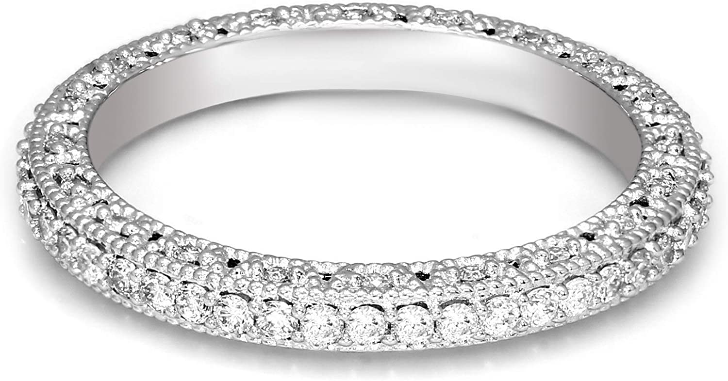 Heart Shape Created Diamond Eternity Stacking Ring 925 Sterling Silver