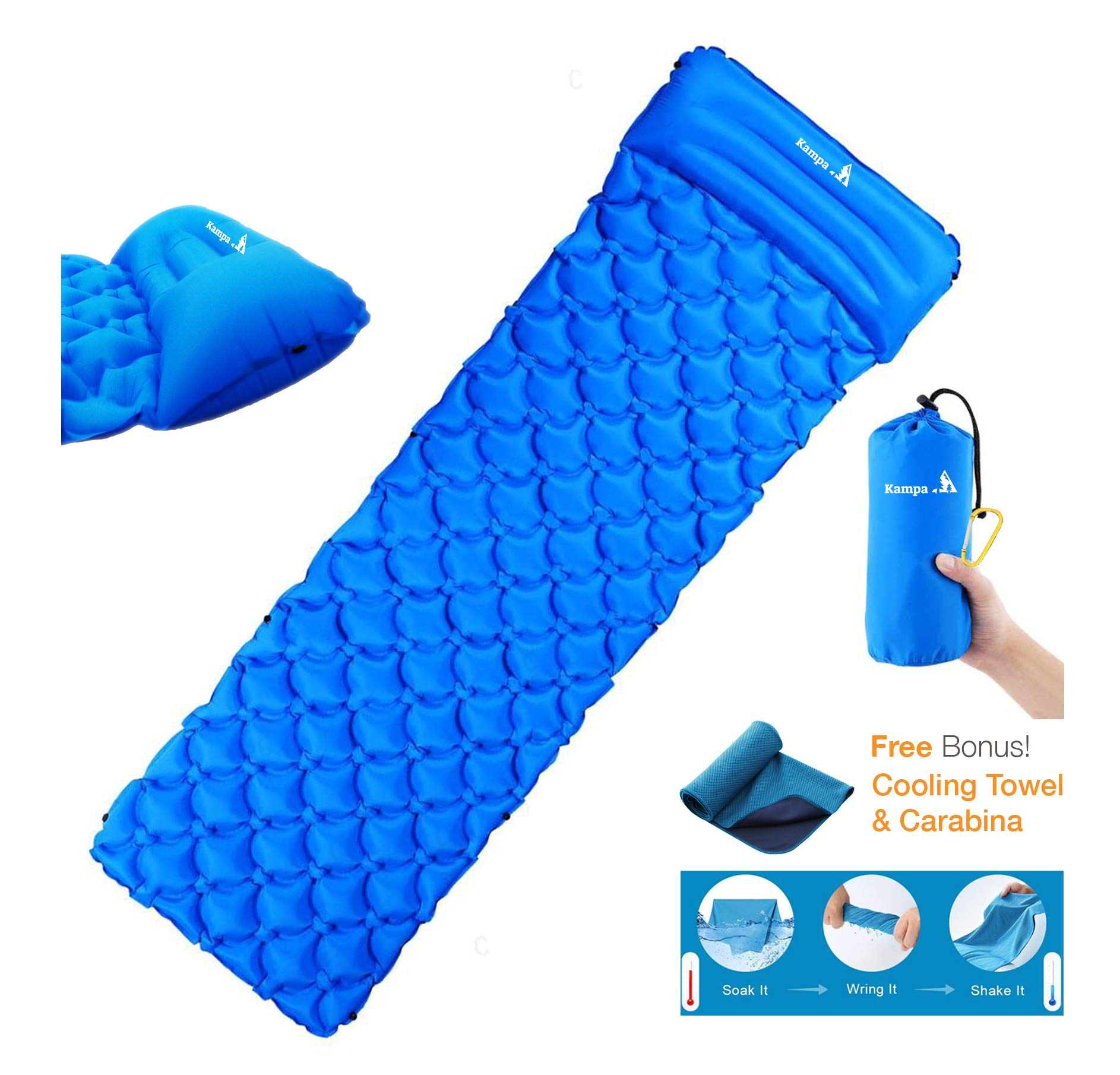 Camping Sleeping Pad, Air Mattress, Built-in Pillow,Large, Ultralight, self-Inflatable & Compact, for Backpacking, Hiking, Bonus Inclusions by Kampa