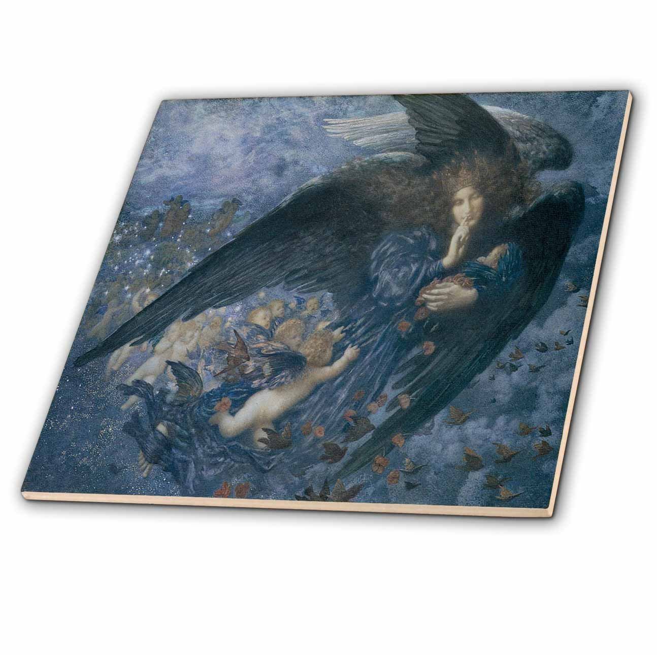 3dRose ct_127264_2 Night with Her Train of Stars by Edward Robert Hughes Ceramic Tile, 6-Inch