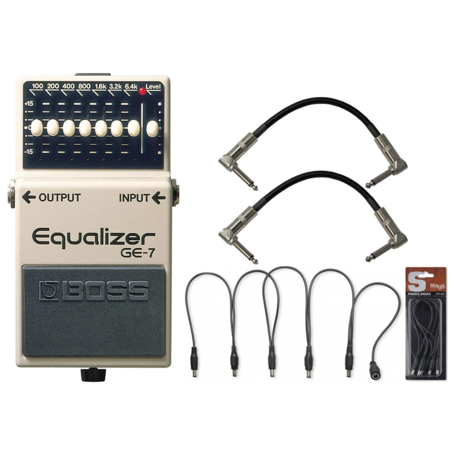 BOSS GE-7 Graphic Equalizer Pedal w/ Daisy Chain Power Cable and (2) 6'' Patch Cables
