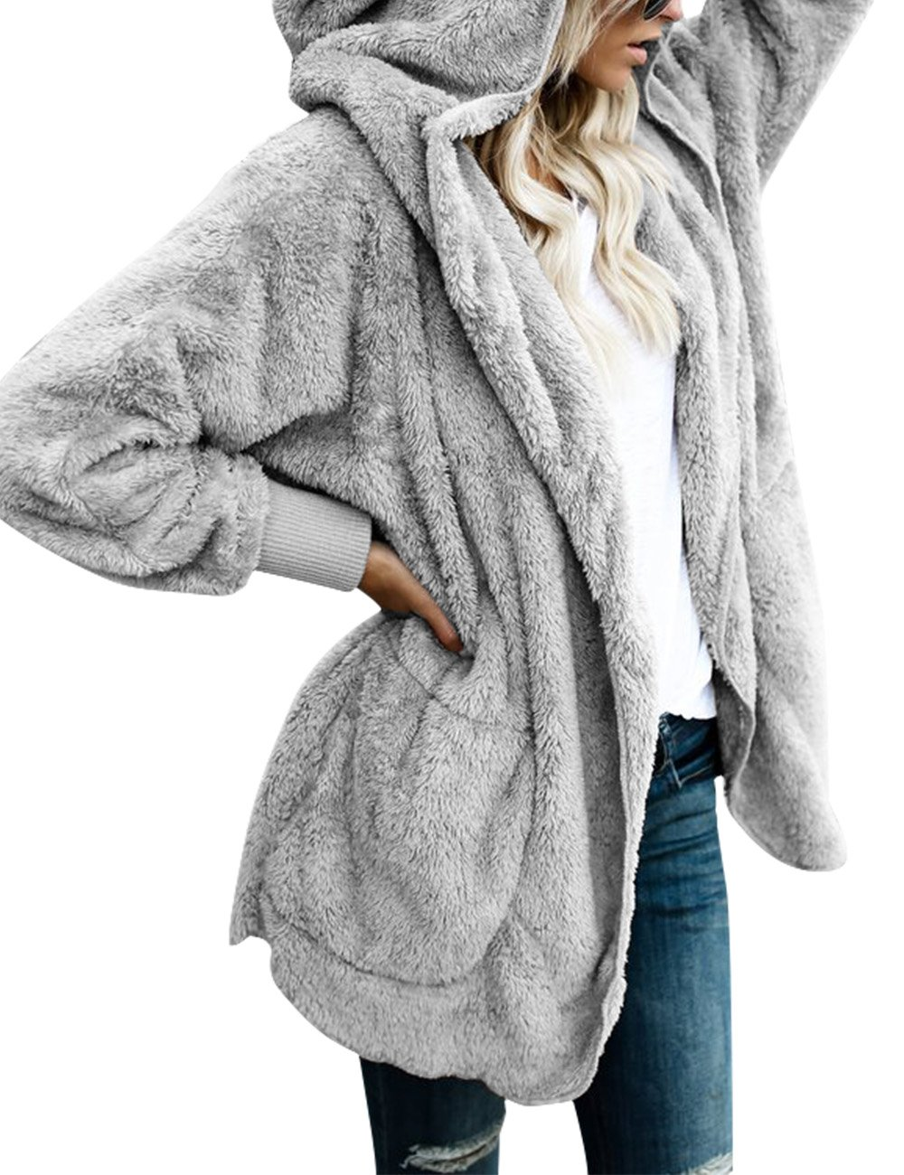 ACKKIA Women's Casual Draped Open Front Oversized Pockets Hooded Coat Cardigan Light Grey Size XX-Large (US 20-22)