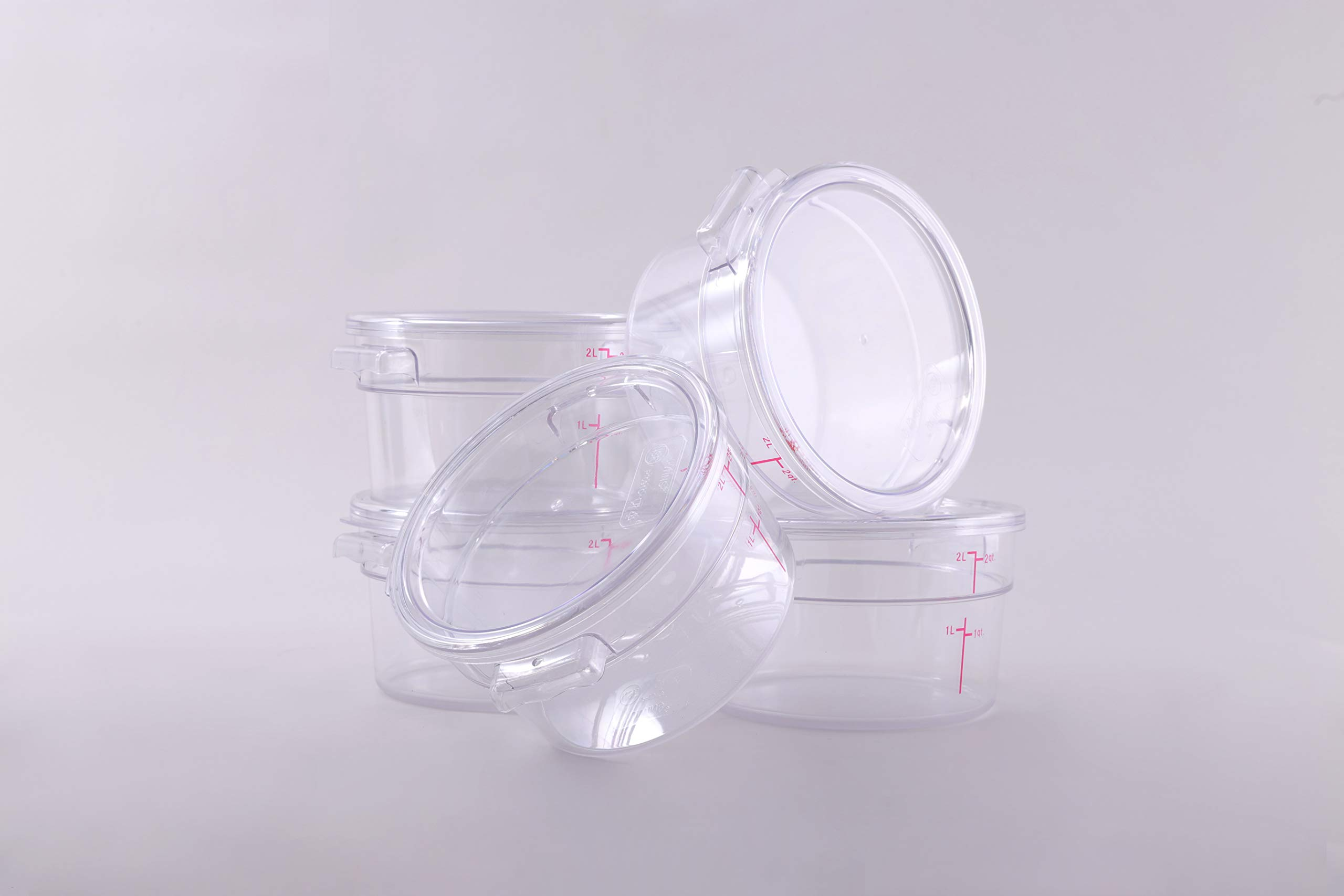 Hakka 2 Qt Commercial Grade Round Food Storage Containers with Lids,Polycarbonate,Clear - Case of 5 by HAKKA FOOD PROCESSING (Image #5)