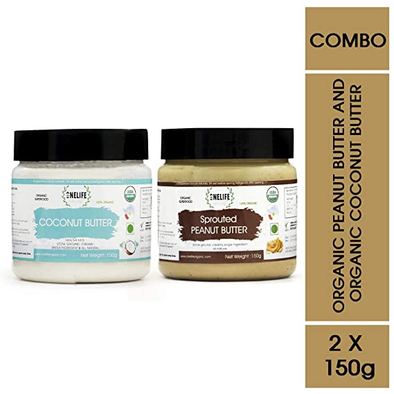 ONELIFE Organic 100% Certified Organic Sprouted Peanut Butter and Coconut Butter Combo Pack - 150 GMS Each - Healthy Bread Spread- Vegan, Gluten Free, No Added Salt or Sugar, Keto Friendly Snacks