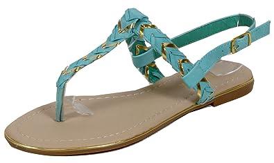 Sonnill - Sandale geflochtene Gräten Muster Zehentrenner goldene Verzierung LederOptik Damen Schuhe 36 37 38 39 40 41 pZSYOEV