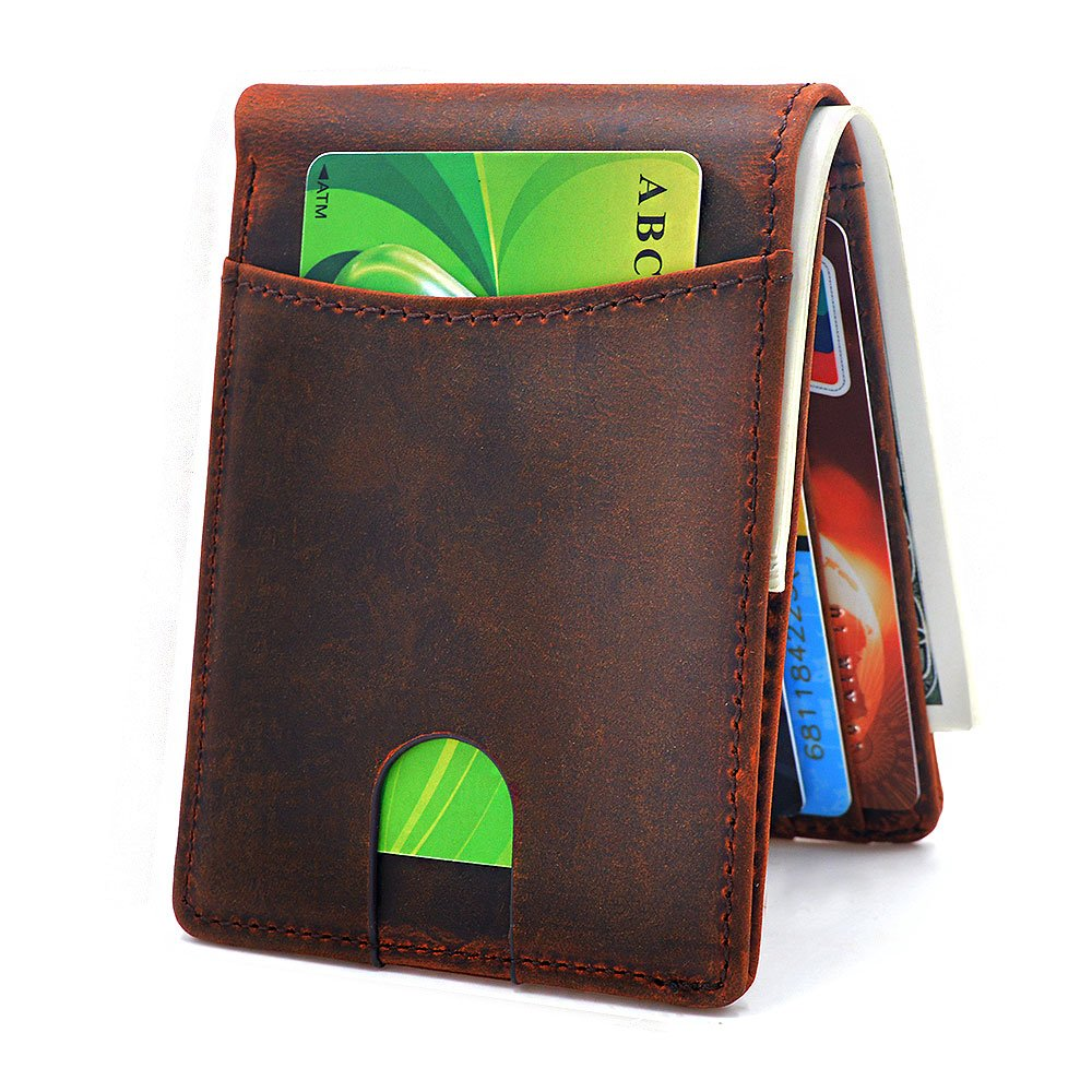 TIANHOO Slim Bifold Leather Wallet with RFID Blocking ID Card Front Pocket Wallet for Men Yellow Brown