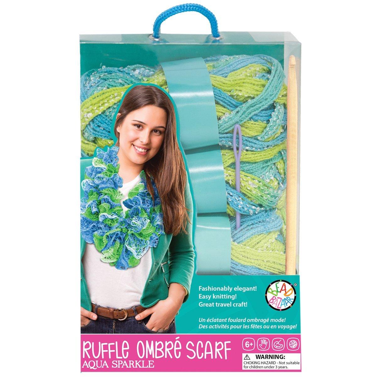 Bead Bazaar-Sparkle Ruffle Scarf Crochet Kit-Aqua