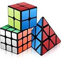 Vdealen Speed Cube Set, Roxenda Magic Cube Set of 2x2x2 3x3x3 Pyramid Smooth Puzzle Cube