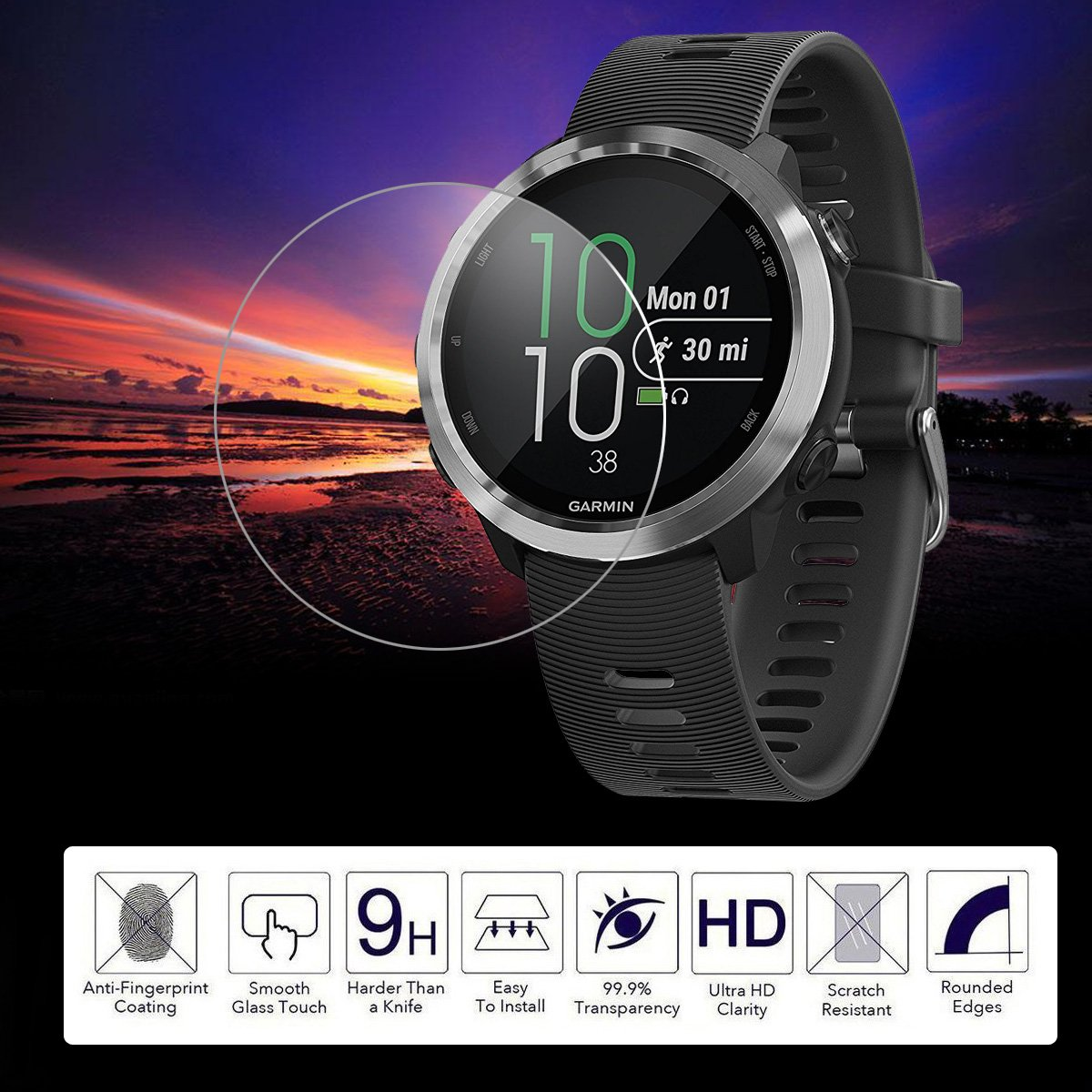 POPANK Full-Coverage Tempered Glass Screen Protector with Scratch Resist Crystal Clear 0.33mm Ultra-Thin 9H Hardness Screen Protector for Garmin Forerunner 645 2 Pack