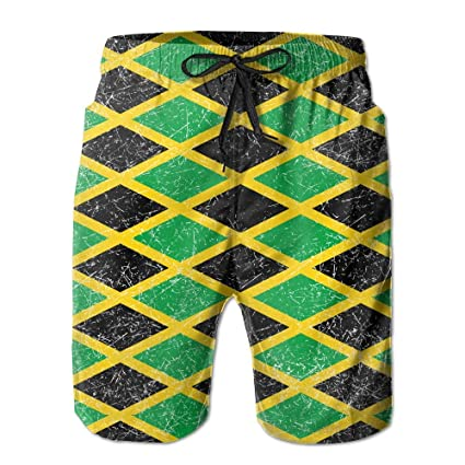 eb918e4f7b Image Unavailable. Image not available for. Color: JAMAICA Jamaican Flag  Caribbean Men's Tropical Quick Dry Board Shorts ...