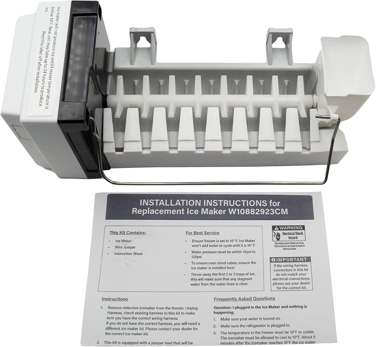 Supplying Demand W10882923 Refrigerator Icemaker Compatible With Whirlpool