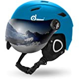 Odoland Ski Helmet with Ski Goggles, Light Weight Snowboard Helmet and Detachable Goggles Set, Snow Sport Helmets for Men Wom