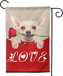 KLATIE Valentine's Day Garden Sign,12x18 Inch Polyester Double Sided Valentines Day Garden Flag for Home Romatic Valentines Day Decorations-Dog Holding red Rose