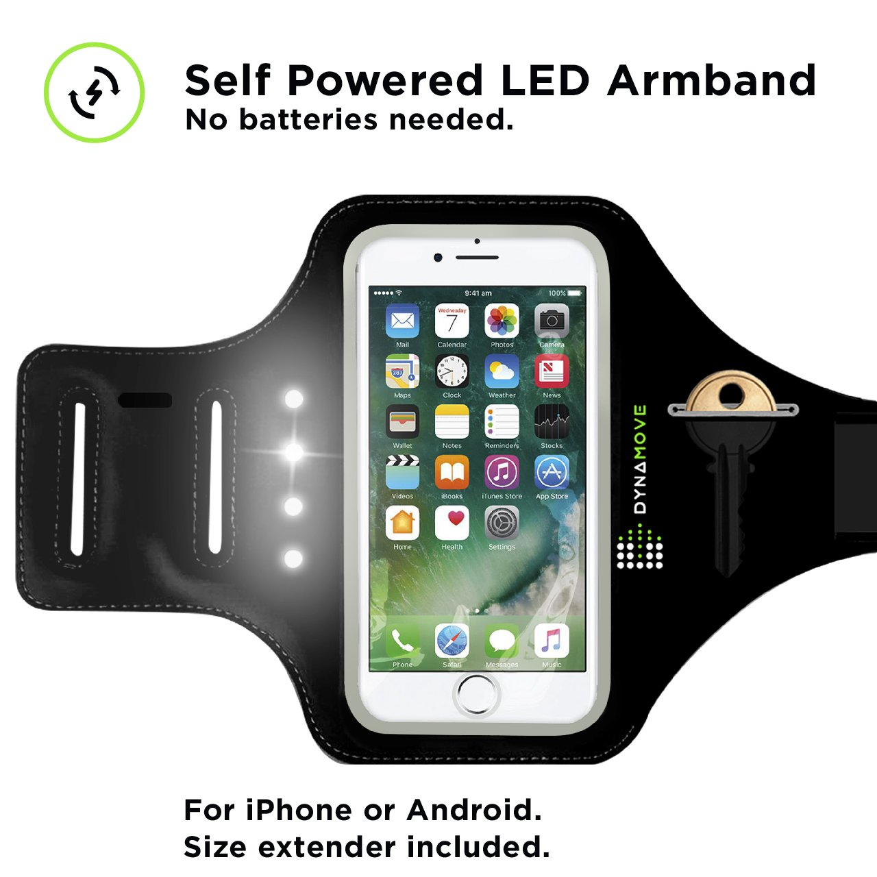 Running Armband for Iphone 6, 6S, 7 or Android: Dynamove Motion Powered LED with Fingerprint Touch ID Support, Key Holder, Cash & Cards Slot + Size Extender included - No batteries needed