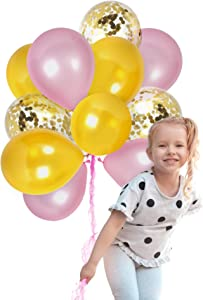 Light Pink and Gold Confetti Balloons for Valentines Day Baby Shower or Birthday Wedding Table Decorations with Latex Helium or Air Golden Glitter Supplies