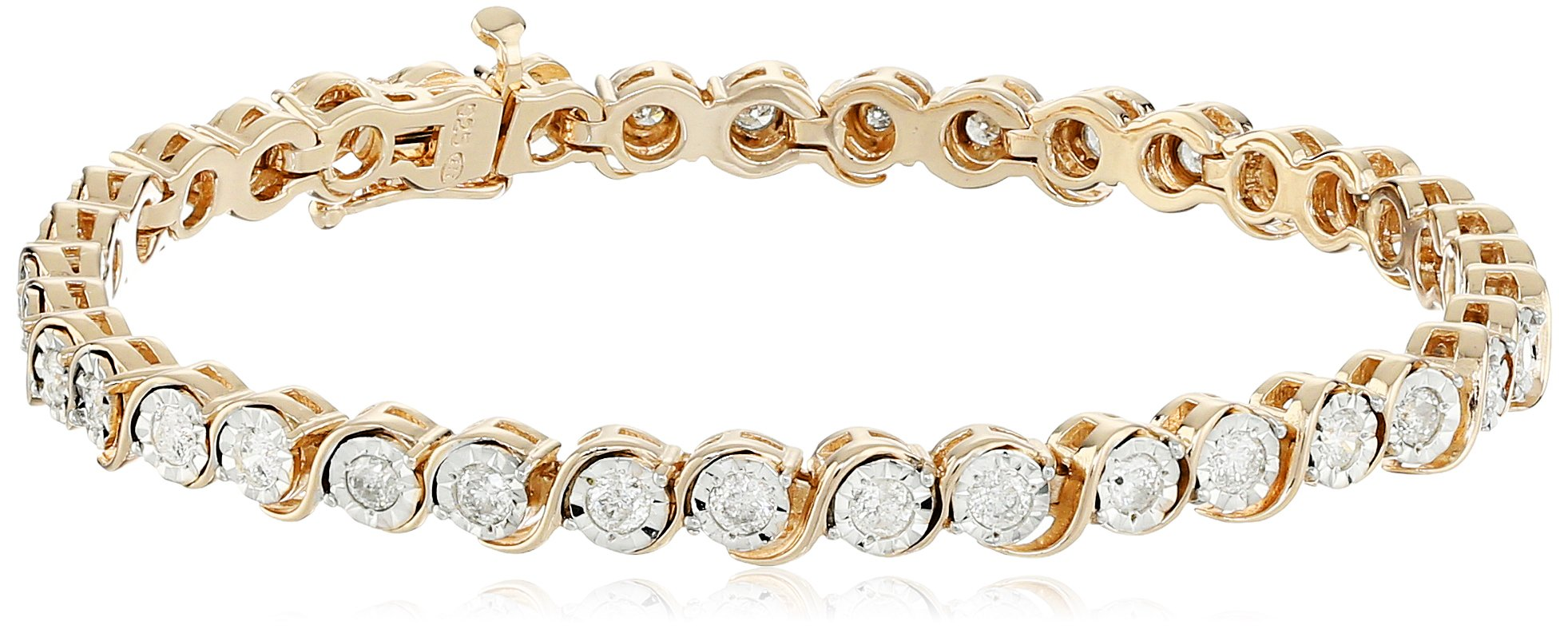 18k Yellow Gold Over Sterling Silver Diamond Miracle Plate ''S'' Link Bracelet (2cttw, I-J Color, I2-I3 Clarity), 7.25''
