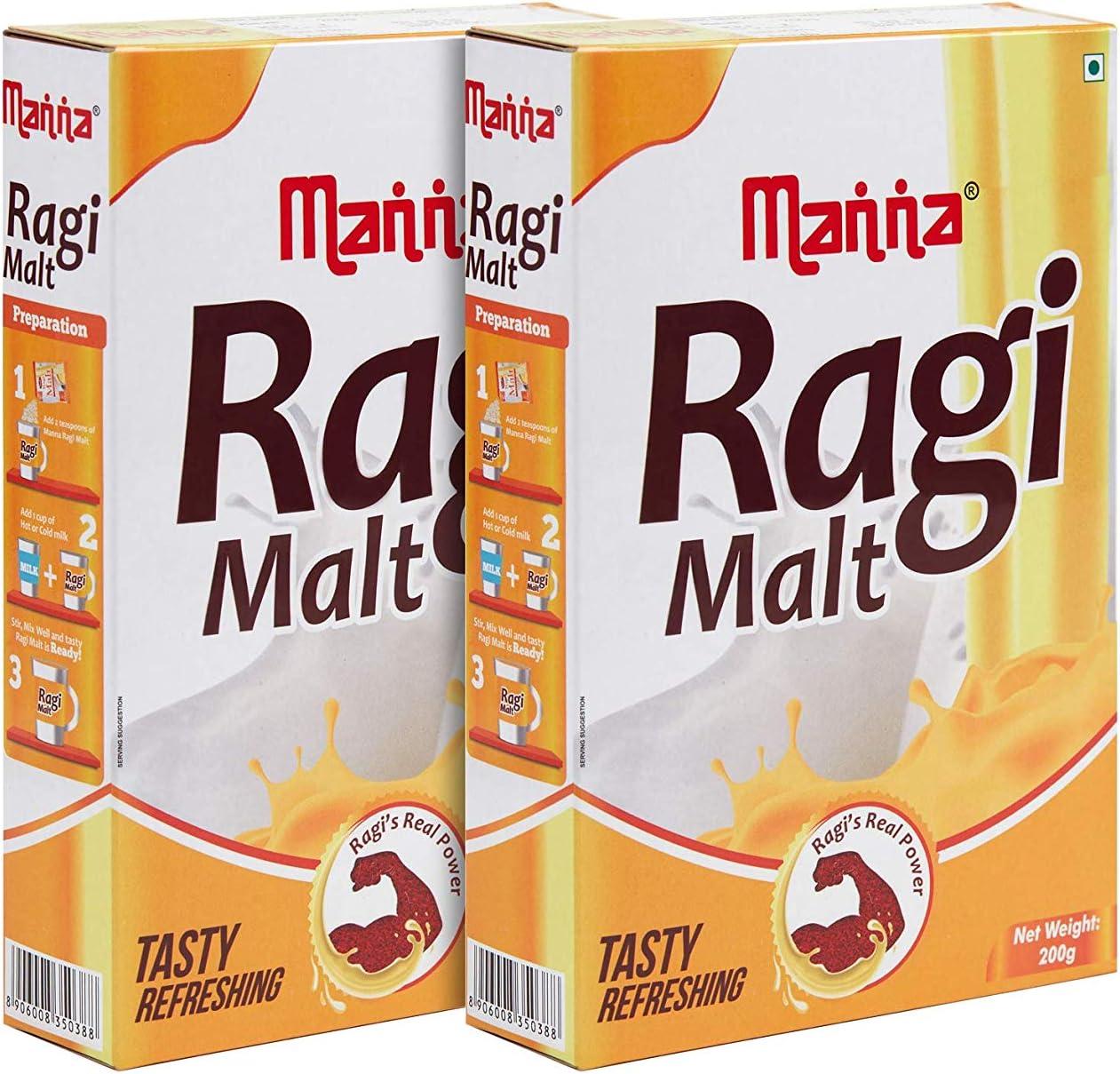 Manna Ragi Malt Health Drink 200 g (Pack of 2)