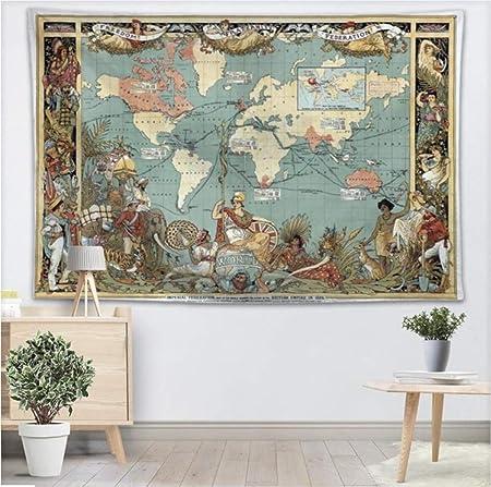 YUYINGXIANG Arte Retro Mapa del Mundo Tapiz de Pared ...