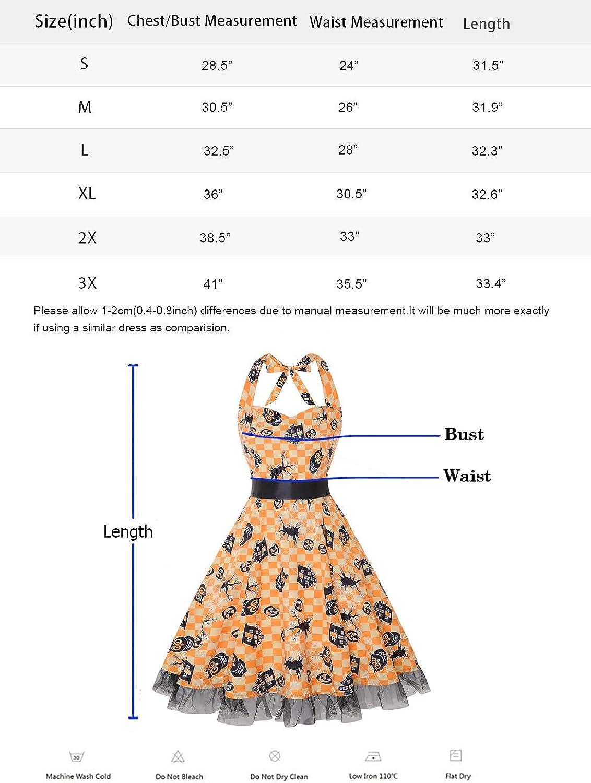 Women Floral Print 1950/'s Rockabilly Halter Swing Dress oten Vintage Dresses