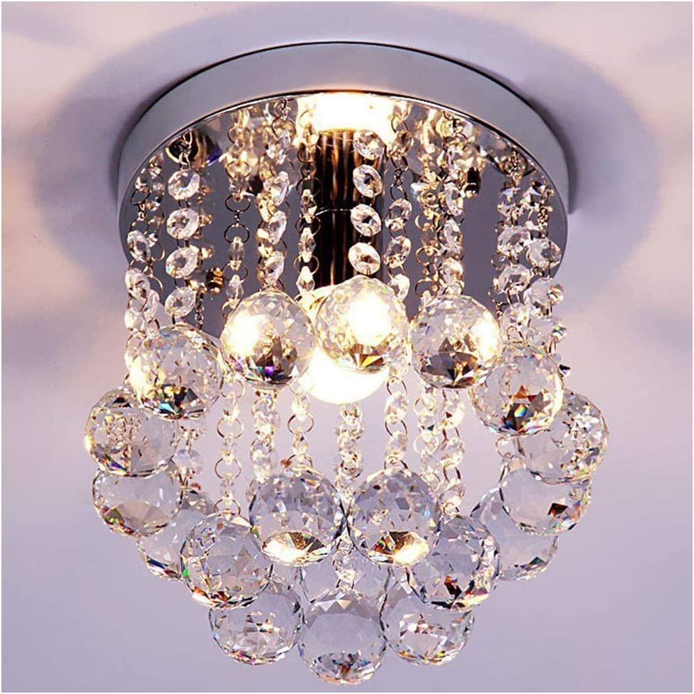 ZEEFO Crystal Chandeliers Light, Mini Style Modern Décor Flush Mount Fixture with Crystal Ceiling Lamp for Hallway, Bar, Kitchen, Dining Room, Kids Room