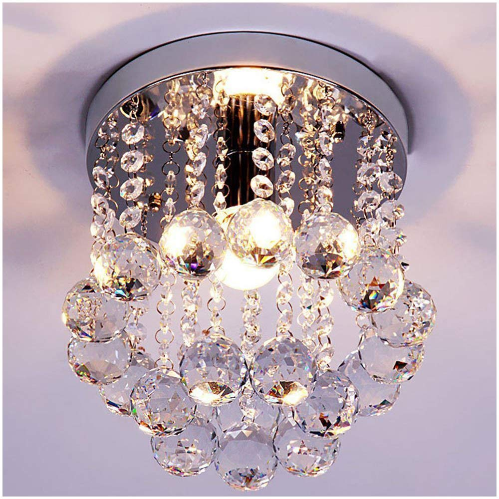 ZEEFO Crystal Chandeliers Light, Mini Style Modern Décor Flush Mount Fixture with Crystal Ceiling Lamp for Hallway, Bar, Kitchen, Dining Room, Kids Room (8 inch) by ZEEFO