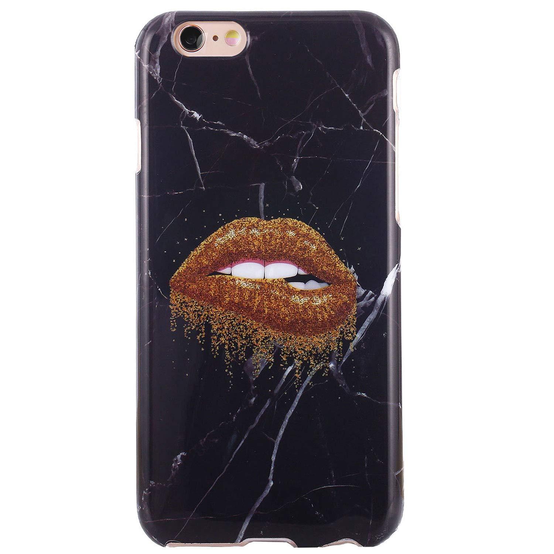 iPhone 6ケース、iPhone 6sケース、DICHEERキュートな女の子女性向け、クリアバンパー光沢のあるTPUシリコンラバーソフトカバーアンチスクラッチスリムフィット薄型保護電話ケースfor iPhone 6 iPhone 6s(Black Marble Lips-80)   B07JLXH4WZ