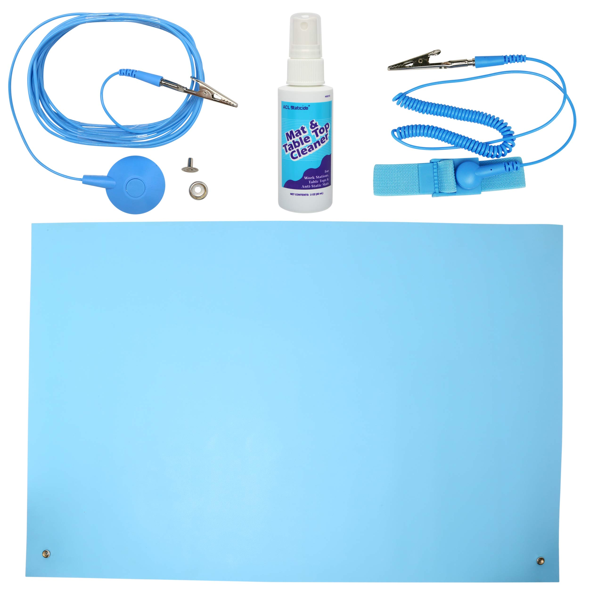 ESD High Temperature Mat Kit | 24'' x 36'' | Sky Blue | with (1) ESD Wrist Strap, (1) ESD Grounding Cord, (1) Bottle of Mat Cleaner