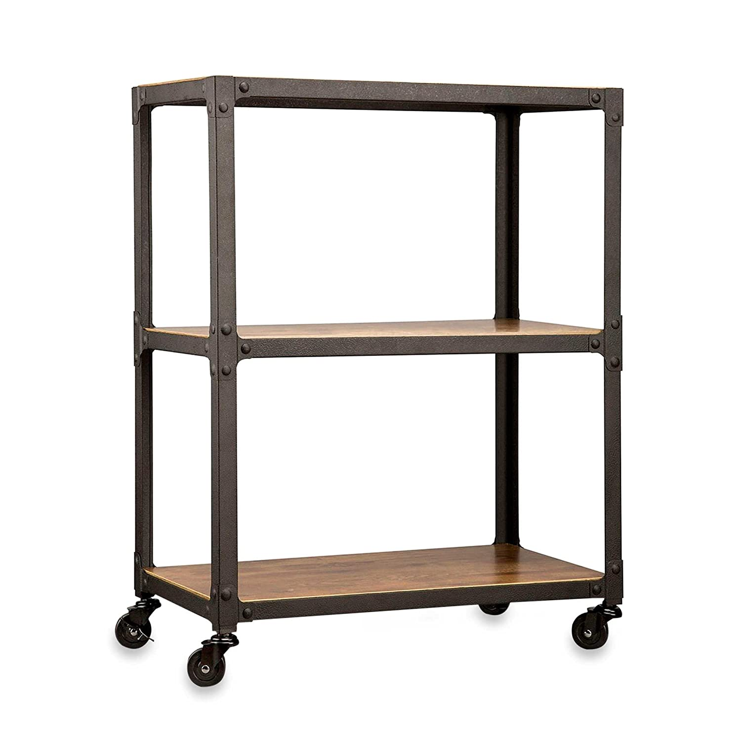 Kitchen cart metal - Amazon Com Loft Living 3 Tier Sturdy Antique Wood Finish Metal Frame Rolling Cart 30 In High Kitchen Dining