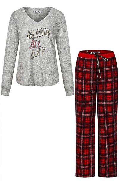 d7de07470671 SofiePJ Women s Plush Soft Fleece Pull on Pajama Sleepwear Gift Set Lounge  Wear Grey Red L