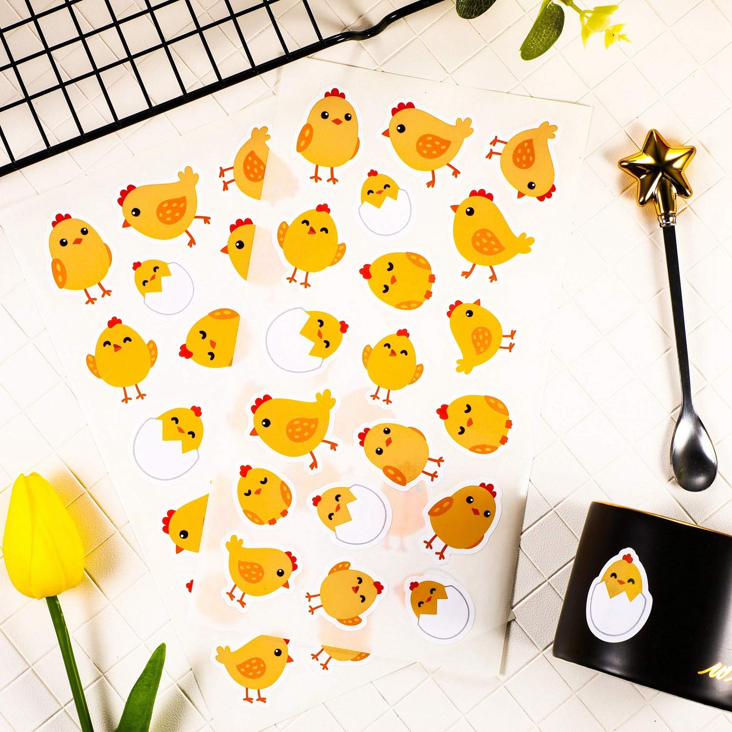 Chick Leinuosen 380 Pieces Easter Egg Bunny Chick Shinny Stickers Easter Eggs Fillers 20 Sheets