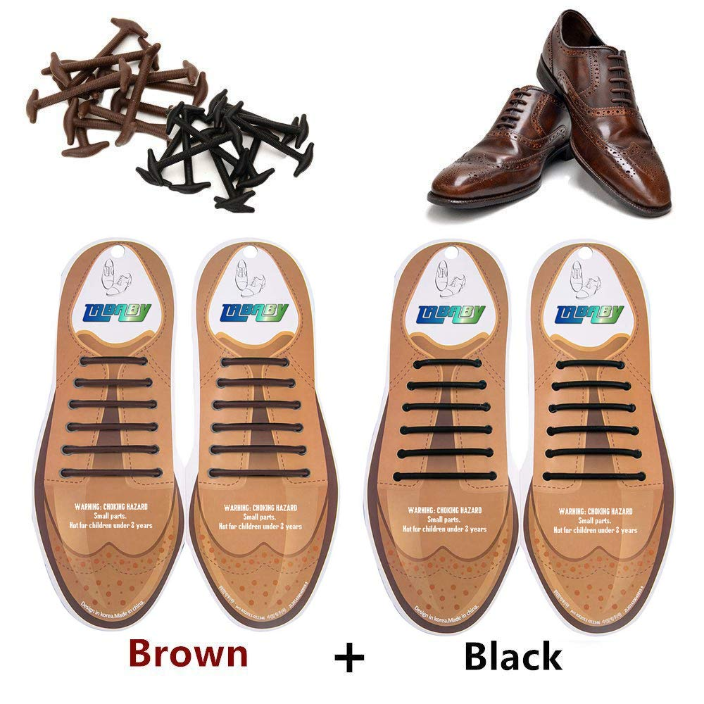 tababy No Tie Shoe Laces for Men and Women Silicone Elastic Waxed Thin Oxford Round Shoelaces for Dress and Leather Shoes