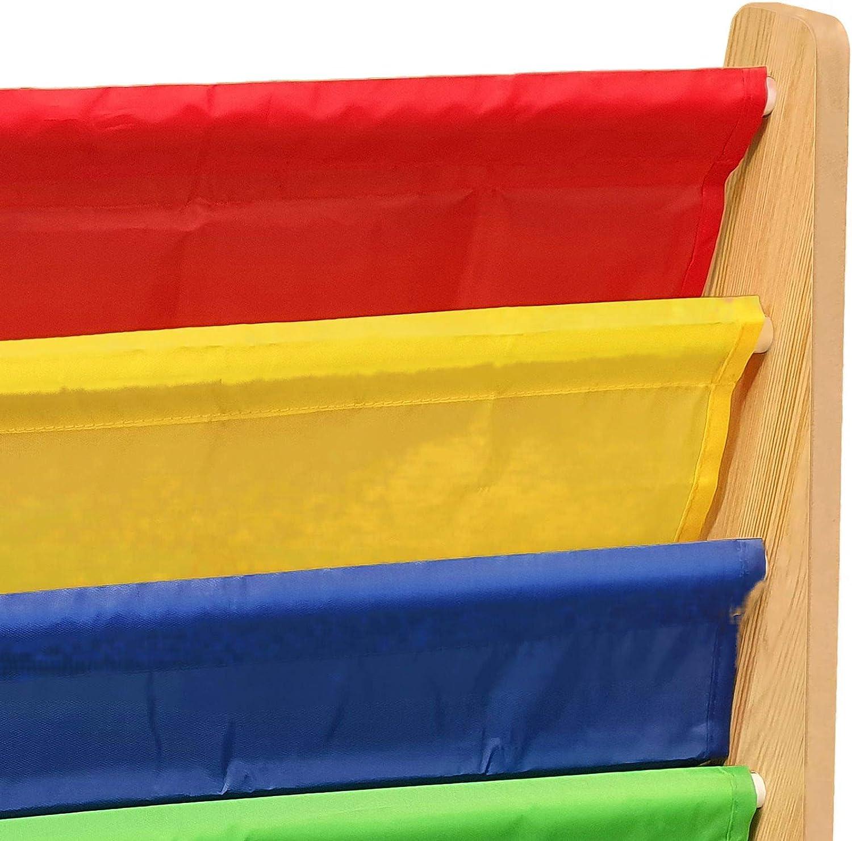 Hyfive Childrens Kids Bookcase Book Shelf Storage Shelves Rainbow Colour Fabric 4 Tier