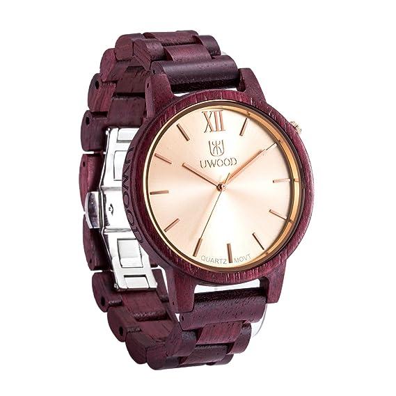 uwood marca nuevo material de madera corazón morado Raro Slim Hombres Relojes Madera Reloj para hombre