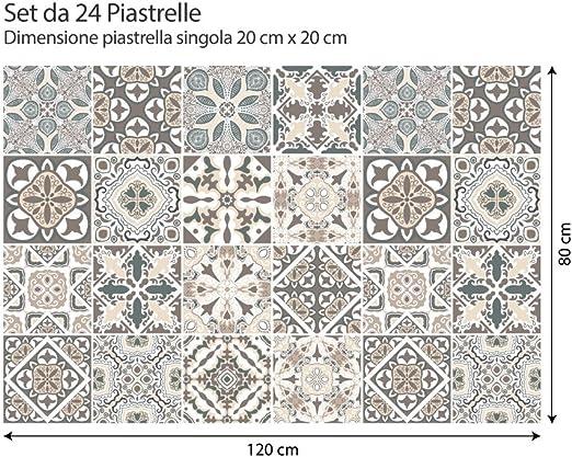15 pi/èces Autocollants de Carreaux Taille 20x20 cm Fabriqu/é en Italie - PS00032 PVC Autocollants pour Salle de Bain et Cuisine Carreaux - Design Fantaisie hongroise kina