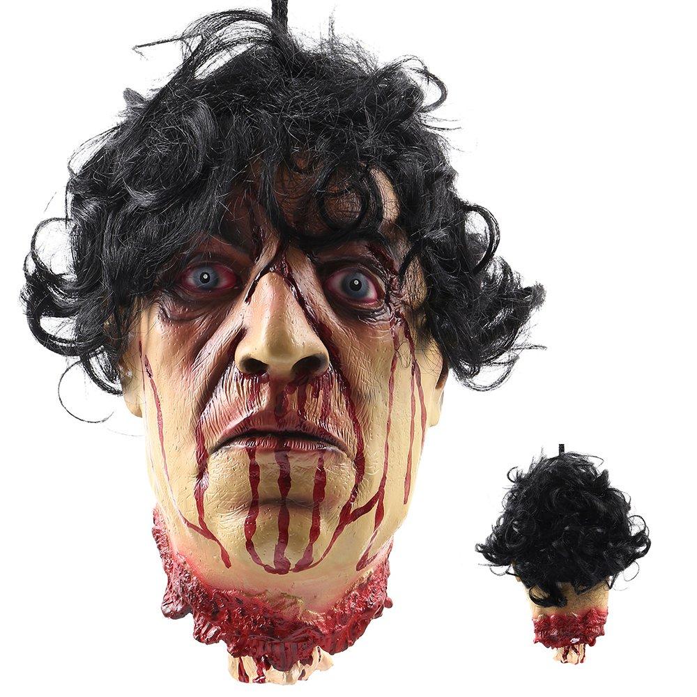 LITTLEGRASS Halloween Props Human Skull Head Bone Model Life Size Replica Realistic Scary Bedroom Living Room Decor Party Supplies Animated Decorations (Skull Head)