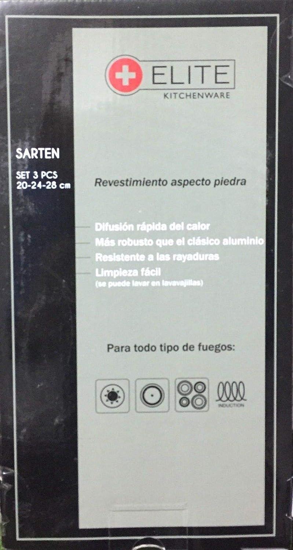 ELITE KITCHENWARE Juego 3 sartenes Antiadherente Piedra induccion 20-24-28 vitroceramica Fuego