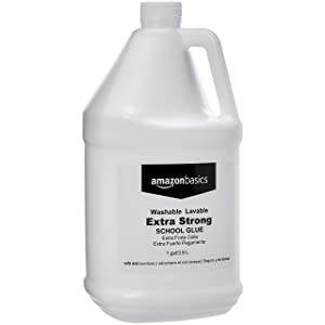 AmazonBasics All Purpose Washable School White Liquid Glue, Extra Strong, Great for Making Slime, 1 Gallon Bottle, 2-Pack