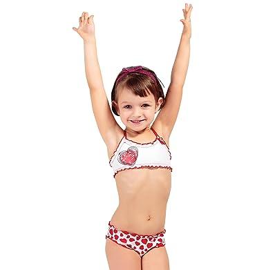 mehr Fotos exklusives Sortiment zum halben Preis Della Mädchen Bikini Set 2-Teilig Baby Bikini, Herzen, rot ...