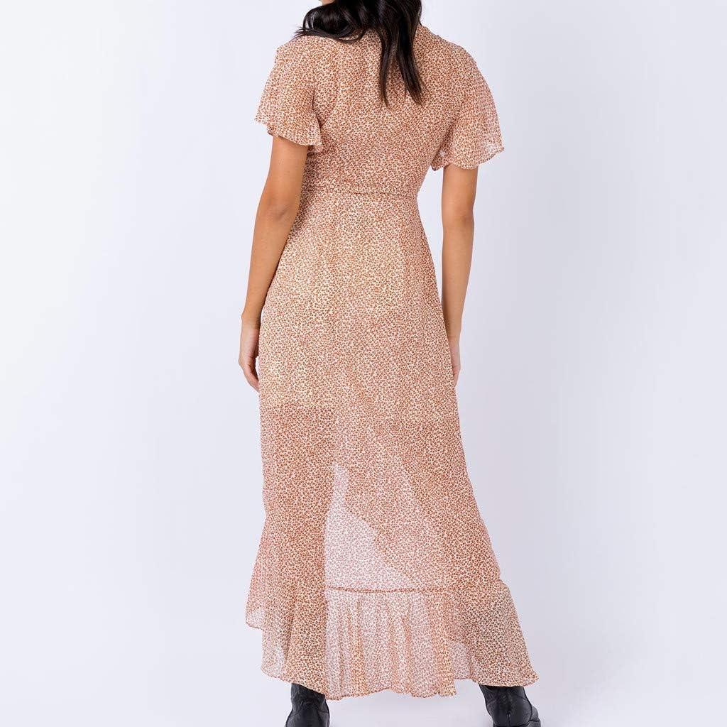 TIFIY Kleid 2019 Damen-Sommer-Kreuz-V-Ansatz Aufflackern-H/ülsen-Verband-offenes Gabel-R/üsche-Leopard-Kleid Strand Arbeit T/äglich Basic draussen Sommer kleiden