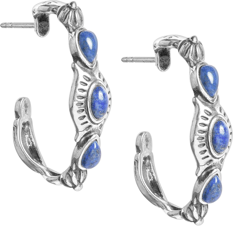 American West Sterling Silver Blue Lapis Gemstone Hoop Earrings