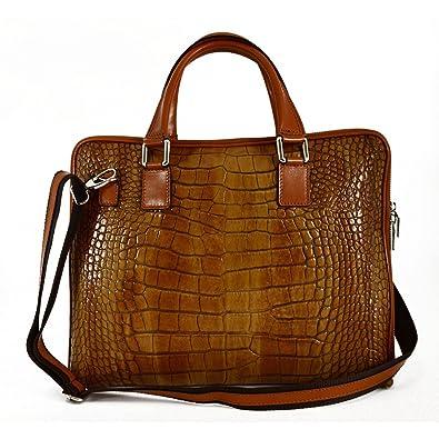 e457f4fec2e31 Cartable En Cuir Véritable Pour Femme Imprimée Façon Crocodile Couleur  Cognac - Maroquinerie Fait En Italie