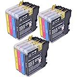 PerfectPrint - 12 cartuchos de tinta LC-980 LC1100 de impresora compatible para Brother